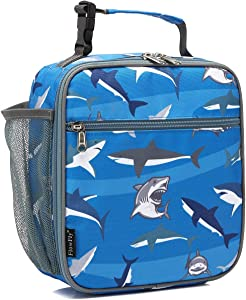 Kids Lunch box Insulated Soft Bag Mini Cooler Back to School Thermal Meal Tote Kit for Girls, Boys by FlowFly,Shark