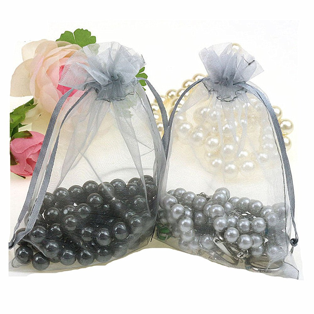 MELUOGE 100pcs 5X7 Inches Organza Drawstring Jewelry Pouches Bags Party Wedding Favor Gift Bags Candy Bags (Gray)