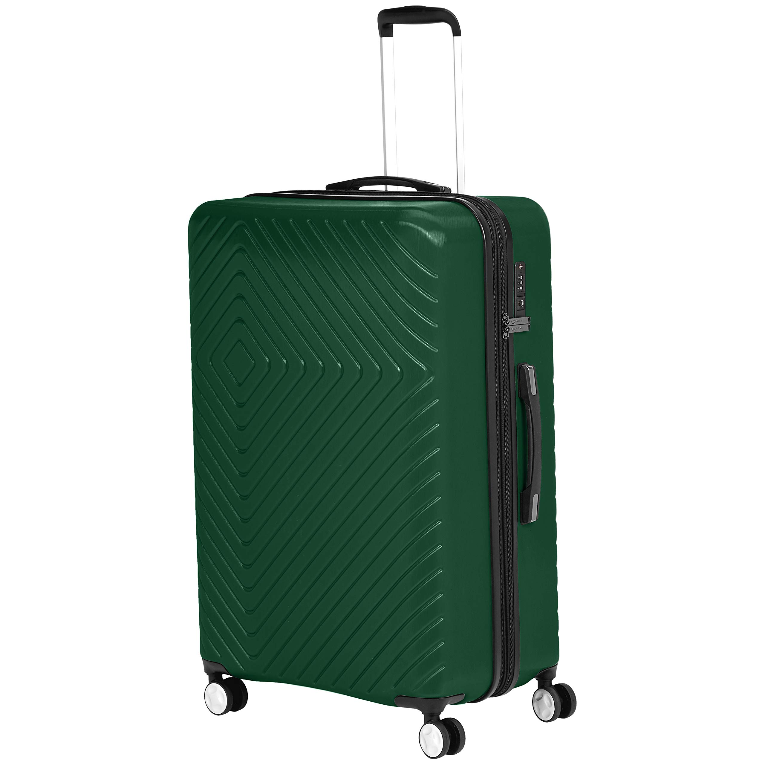 AmazonBasics Geometric Travel Luggage Expandable Suitcase Spinner with Wheels and Built-In TSA Lock, 28 Inch - Green