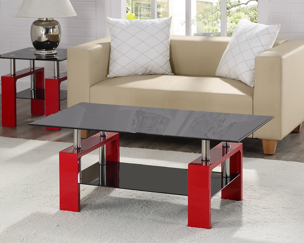 Elise designer black glass coffee or side table with chrome black elise designer black glass coffee or side table with chrome black or red legs by limitless base red legs coffee table only amazon kitchen home geotapseo Choice Image