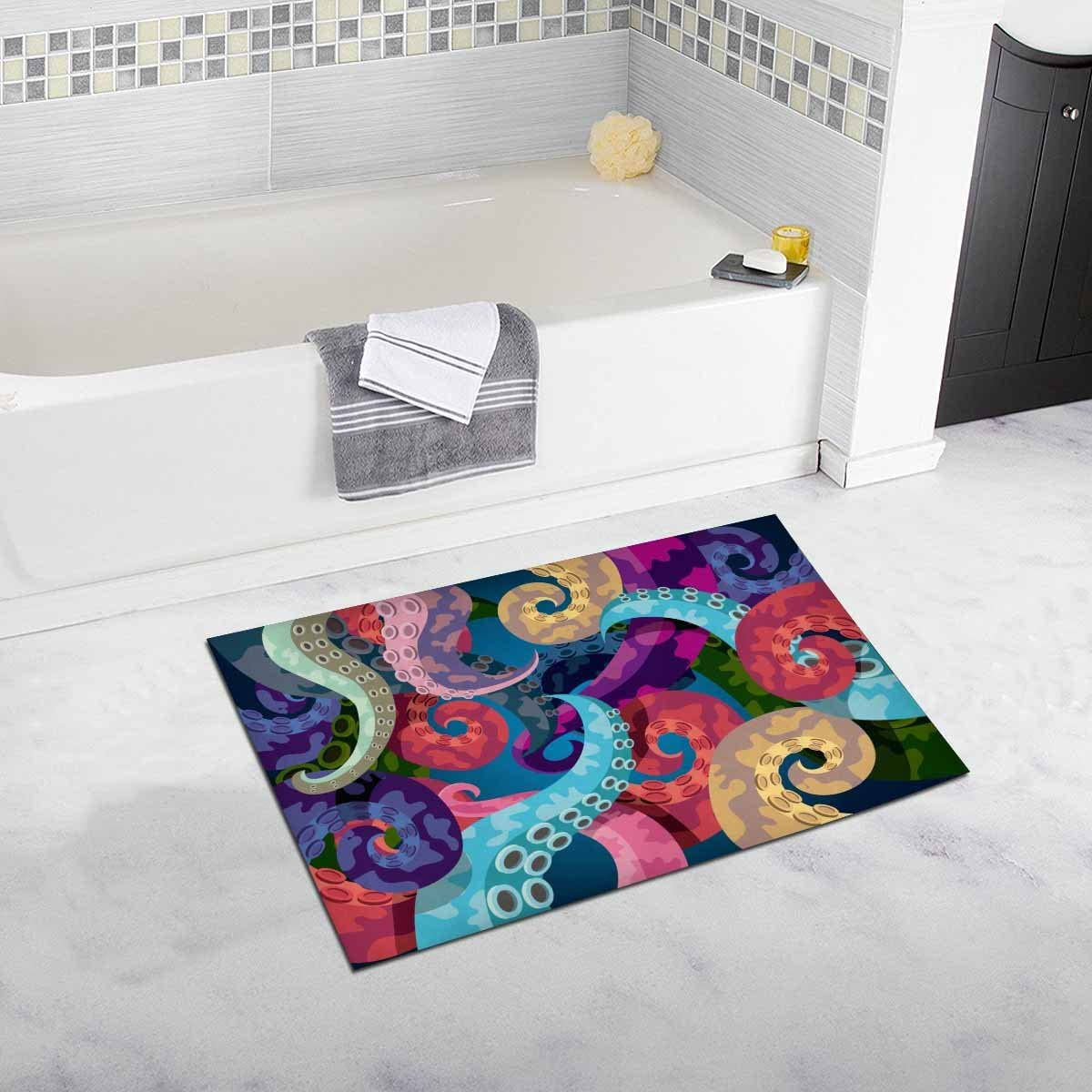 INTERESTPRINT Octopus – Sea Monster Bath Rug Non-Slip Bathroom Mat 20 W X 32 L Inches