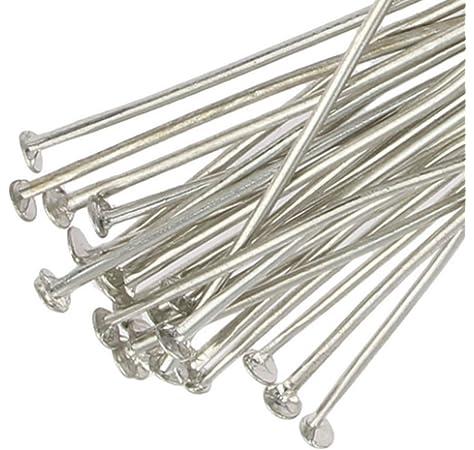 100  Silver Plated BALL Headpins 30 x 0.7mm Head Pins