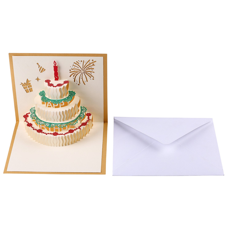 Amazon Com 3d Paper Pop Up Handmade Happy Birthday Cake Design