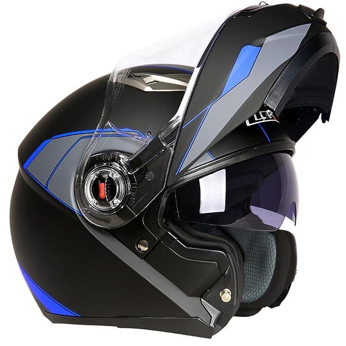 Amazon.com: TOUKUI Motorcycle Helmet Moto Cafe Racing Helmet Flip Full Face Double Lens Visor: Sports & Outdoors
