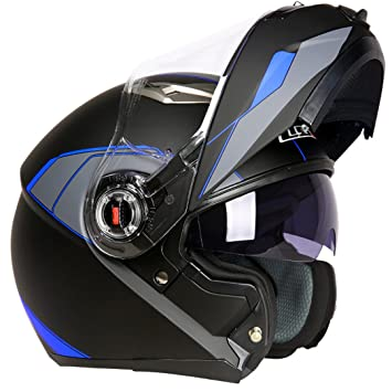 TOUKUI Motorcycle Helmet Moto Cafe Racing Helmet Flip Full Face Double Lens Visor Blue rapid L