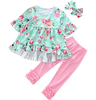 4de0d684dc3 Toddler Baby Girl Easter Outfit Floral Ruffles Tunic Dress Leggings  Headband Clothes Set