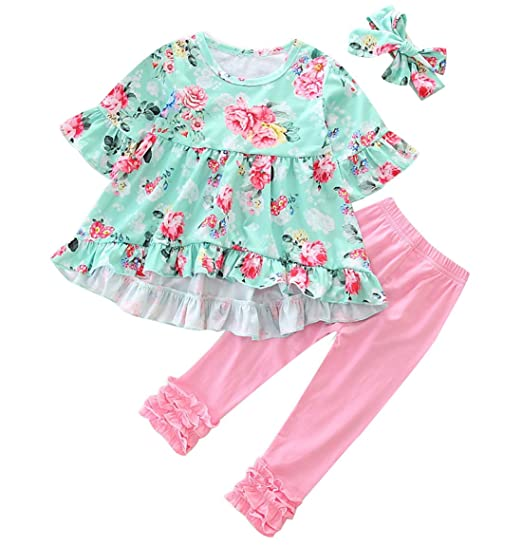 a86c633bdd8ca Toddler Baby Girl Easter Outfit Floral Ruffles Tunic Dress Leggings  Headband Clothes Set (Floral,