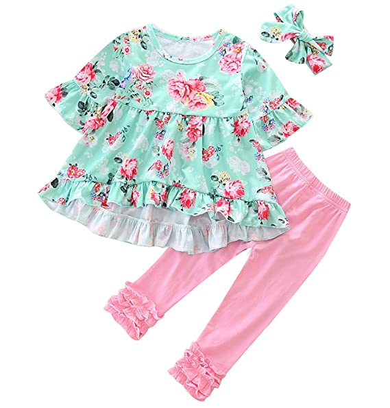 92293d1c45e4 Toddler Baby Girl Easter Outfit Floral Ruffles Tunic Dress Leggings  Headband Clothes Set (Floral,