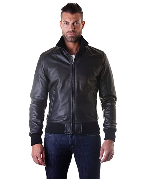 finest selection baf43 9c060 D'Arienzo - BOMBER - Giacca in pelle nappa nera - 48, Nero