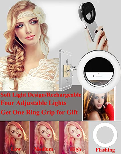 Makeup Ring Light,Werleo Rechargable Camera Flash Fill Light Dimmable  Selfie Ring Lighting Clip On