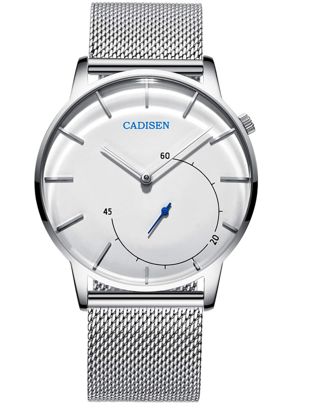 CADISEN ultra-thin simple semi-circular seconds design watch, stylish waterproof silver stainless steel quartz men's watch