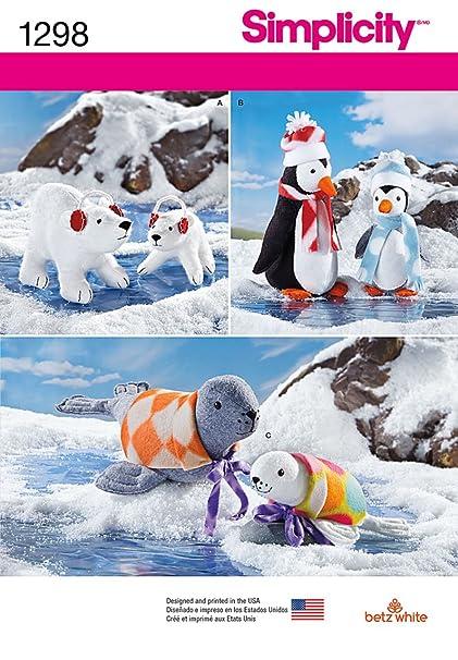 Amazon Com Simplicity 1298 Stuffed Polar Bear Penguins Seals