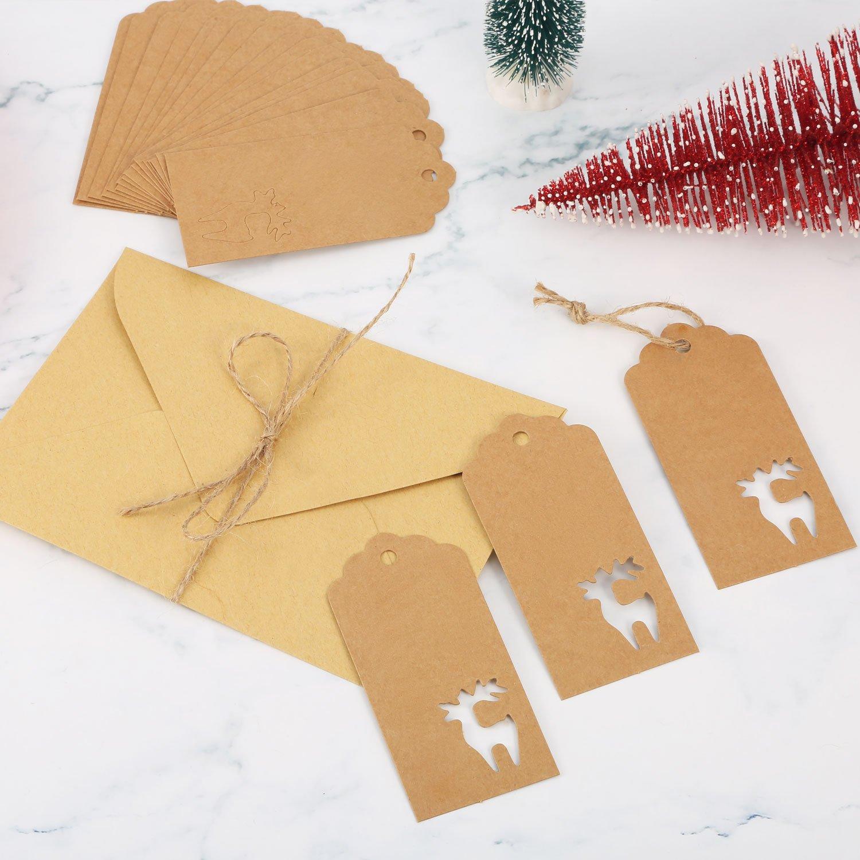 100 Stück Braun Papier Geschenk Etikette Hohlen Weihnacht ...