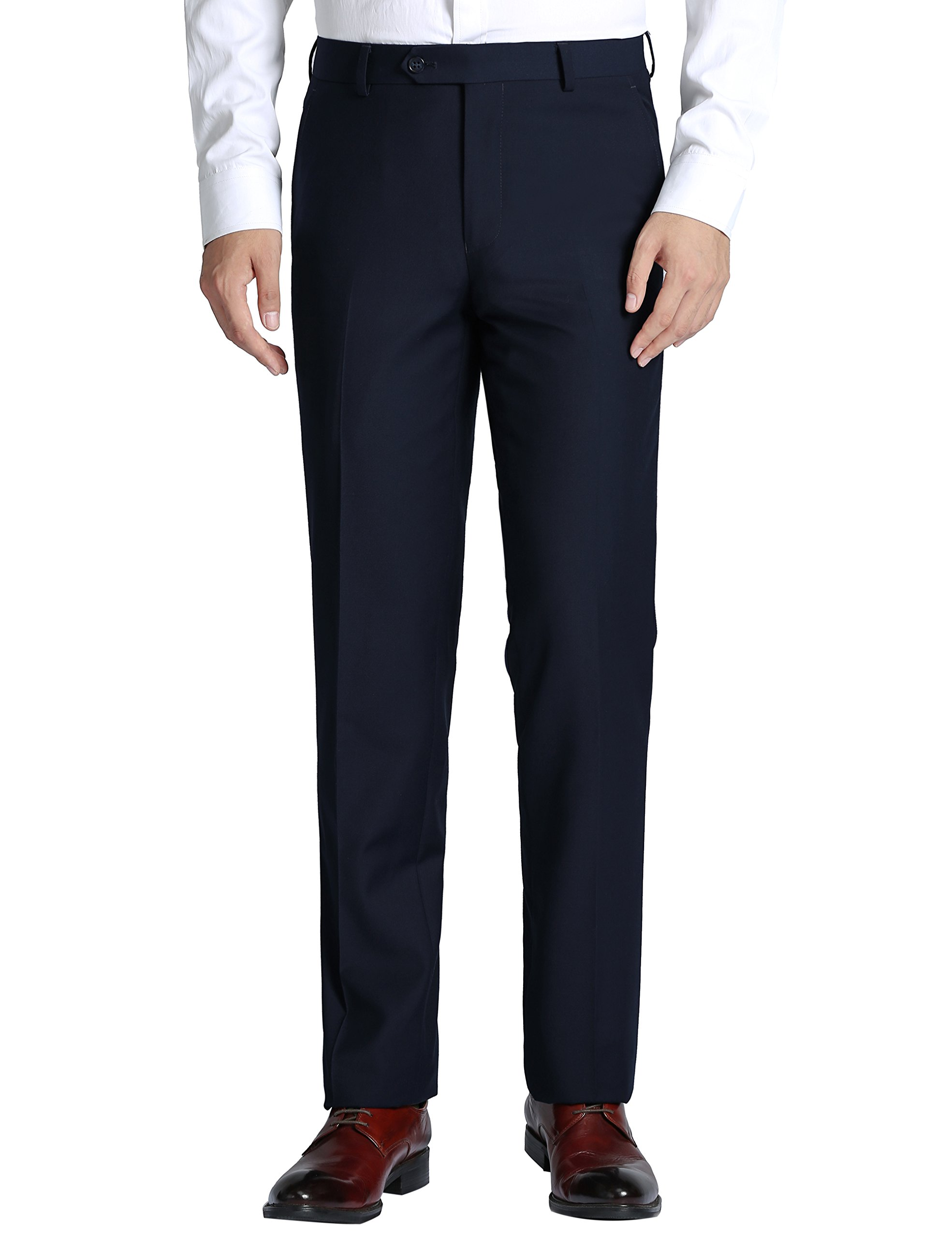 Chama Men's Classic Fit Non Iron Flat Front Dress Pant- Unhemmed (Dark Navy, 50R)