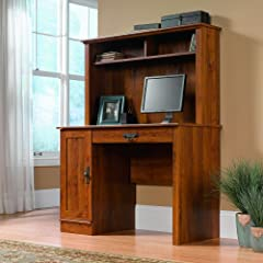 Sauder Harvest Mill Small Computer Desk with Hutch, Abbey Oak Finish