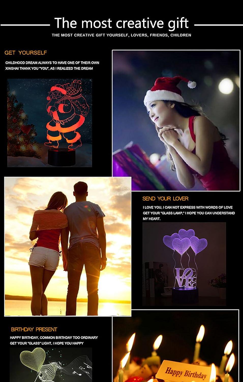 3D Nuit lamour coeur LED Lampes Art D/éco Lampe la couleur changeant lumi/ères LED D/écoration D/écoration Maison Enfants Meilleur cadeau Lumi/ère Touch Control 7 couleurs Change