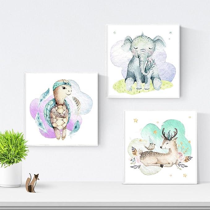 Nacnic Set De 3 Láminas Para Enmarcar Elefante, Ce...