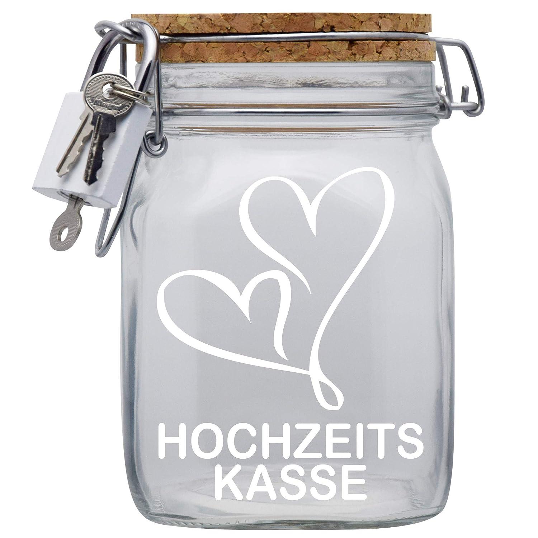 Hochzeits-Heirats-Kasse XXL-Spardose mit Vorh/ängeschloss in Weiss//Geld-Geschenk//mit Korkdeckel und Sparschlitz Transparent