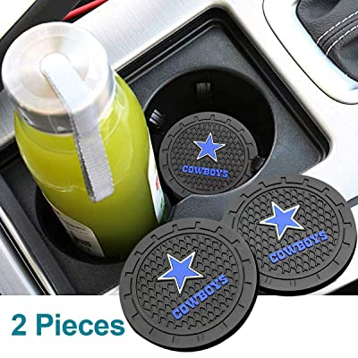 Auto Parts 2.75 Inch NFL Silicone Coasters Durable Anti Slip Silicone Cup Holder Mat,Car Cup Holder Coasters for NFL-American Football Team Car Interior Accessories Set of 2 (Dallas Cowboys): Automotive