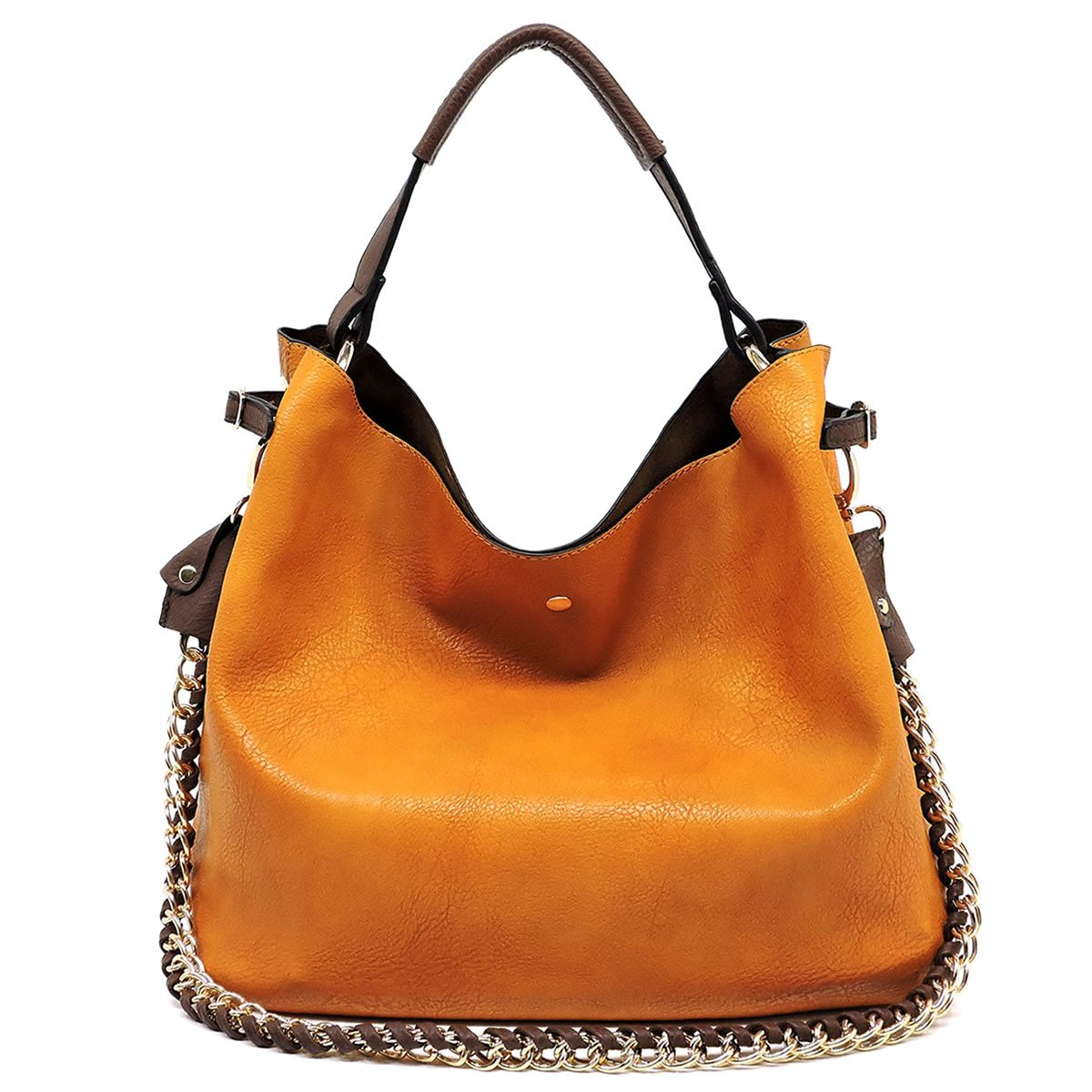 Americana Bucket Style Hobo Shoulder Bag with Big Chain Strap 2 in 1 Bag