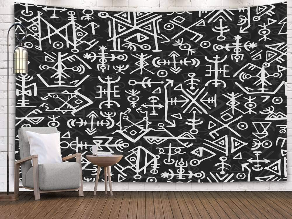 Crannel Norse Viking Symbol Pattern Magic Draw Symbols As Background Ancient Iceland Ethnic Islandic Scripted Tapestry 80X60 Inches Wall Art Tapestries Hanging for Dorm Room Living Home,Gray Red