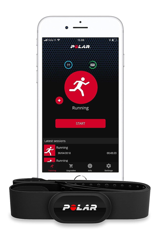 Polar H10 - Sensor de Frecuencia cardíaca Bluetooth con banda pectoral - Negro, XS-S