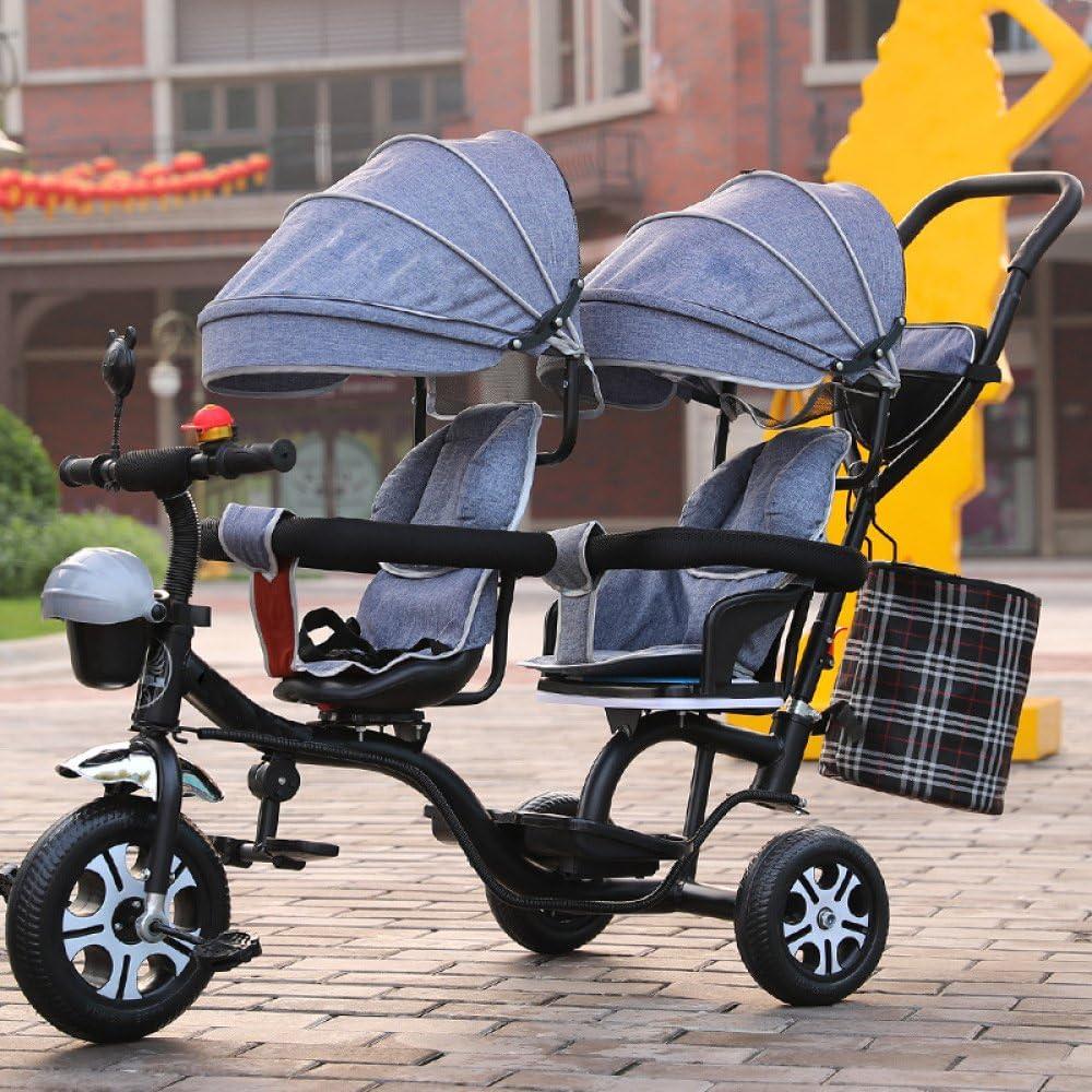 LZTET Twins Dreirad Kinderwagen Kinderwagen Faltbar und Multifunktional Hochwertigen Kinderwagen,Red