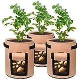 SODIAL Potato Grow Bags 7 Gallon Garden Planting Bag Aeration Fabric Pot with Handles for Planter 3 Pack