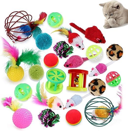 Uponer Juguetes para Gatos 24 Piezas Juguetes Interactivo Ratón y Bolas Varias con Campanas y Plumas para Kitty Mascota Gato Juguetes: Amazon.es: Productos para mascotas