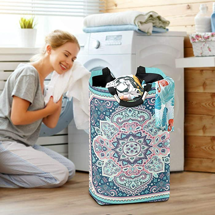 Flowers Laundry Baskets Hamper Vintage Ethnic Pattern Large Dirty Clothes Bag Boho Teal Washing Bin Indian Ethnic Clothing Holder Floral Kids Toys Books Storage Organizer Bathroom Bedroom