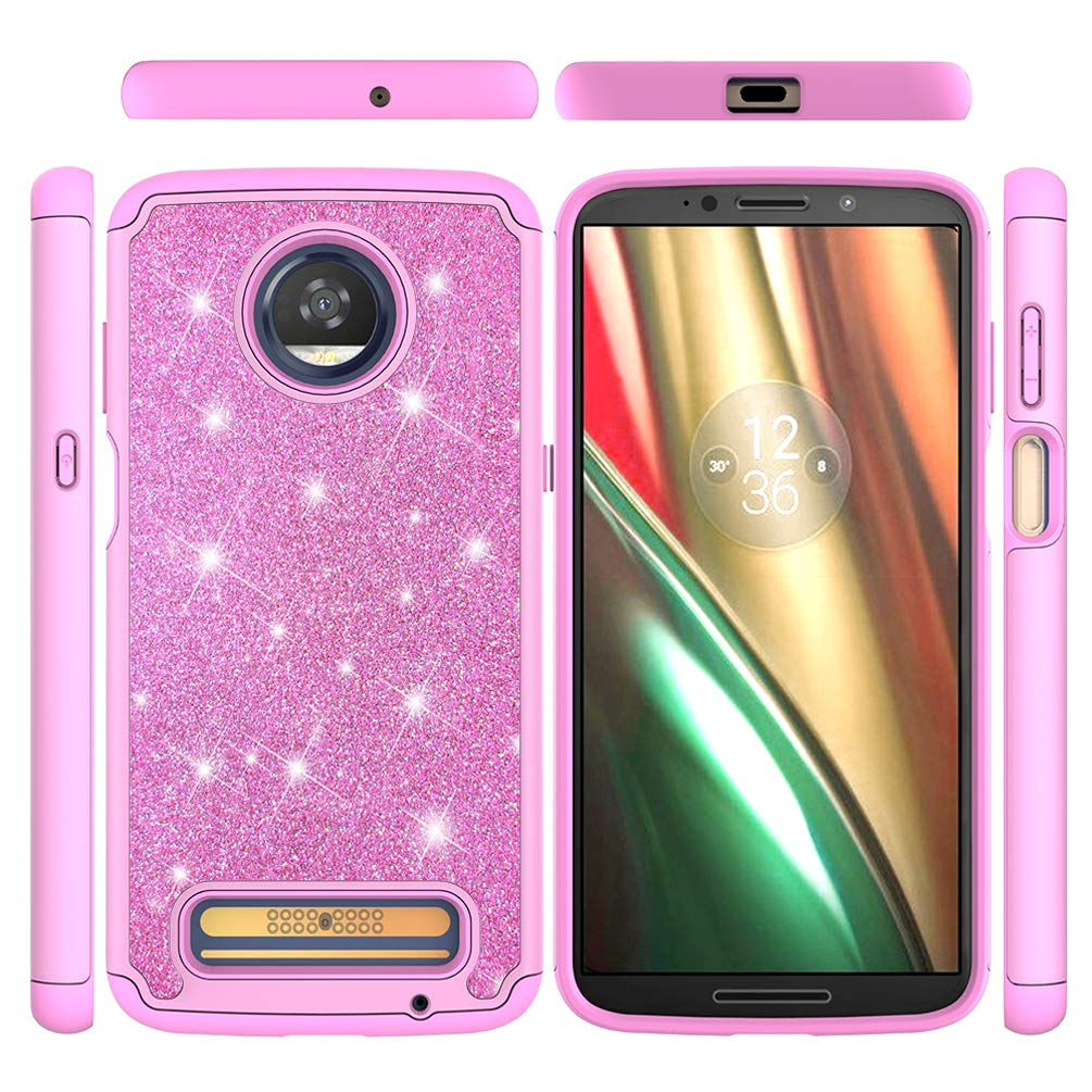 Moto Z3 Play Case, Hybrid Rugged Heavy Duty Shock AbsorptionDropResistant Full Body Dual Layers Shockproof Soft TPU Bumper PC Shell Bling Shiny Glitter Diamonds 2 in 1 Armor Cover Moto Z3 Play