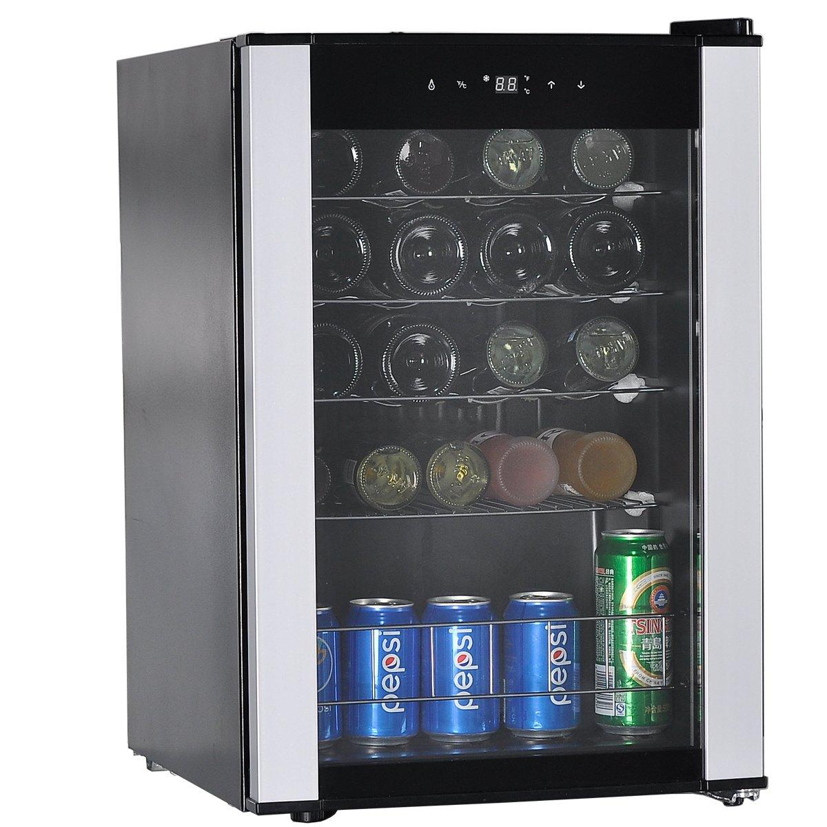 SMETA 19 Bottles Small Wine Refridgerator Compressor Freestanding Wine Cooler with LED Display Wine Cellar Fridge by SMETA