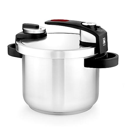 BRA Tekna - Olla a presión rápida 6 litros, acero Inoxidable, apta para todo tipo de cocinas, incluido inducción, gris