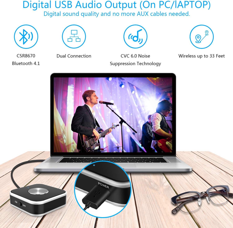Transmisor Bluetooth para TV / PC (Soporta 3.5mm AUX, RCA, PC USB, aptX Low Latency) , Conexión Dual Adaptador Inalámbrico de Audio para Auriculares: Amazon.es: Electrónica