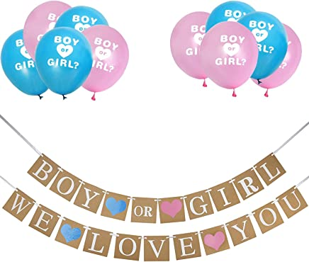 Keriber Boy or Girl Banner and Gender Reveal Balloons Decorations for Baby Shower Gender Reveal Party Pregnancy Announcement