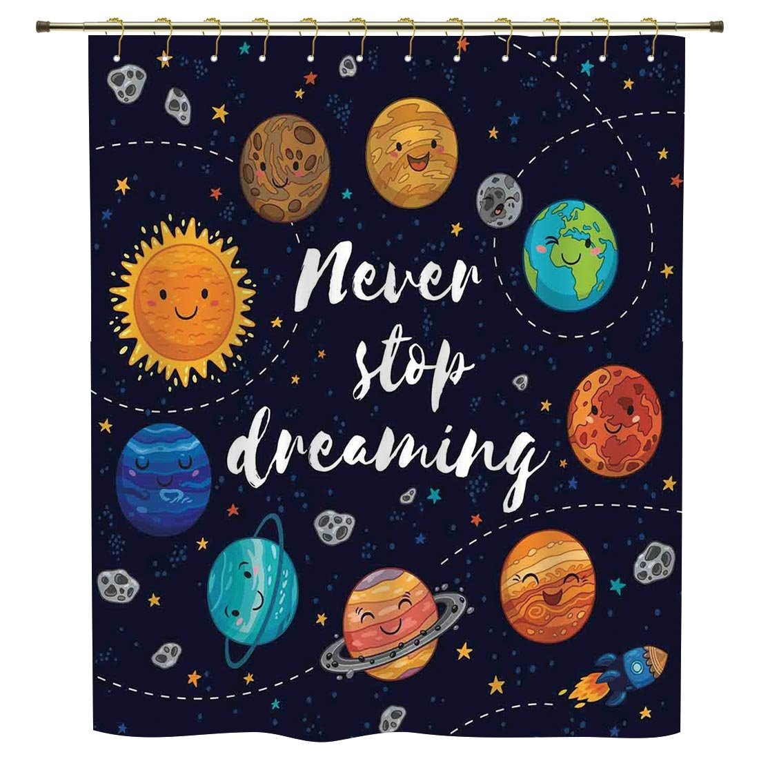 iPrint Shower Curtain,Quote,Outer Space Planets and Star Cluster Solar System Moon and Comets Sun Cosmos Illustration,Multi,Polyester Shower Curtains Bathroom Decor Sets with Hooks