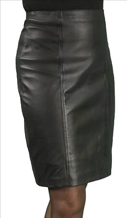 Straight Leather Skirt, Knee Length - Ladies/Women (Black, Waist ...