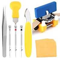 9 PCS Watch Battery Replacement Tool Kit, Professional Watch Back Remover Tool, Adjustable Watch Case Opener Tool, Watch Opening Tool with Watch Holder, Flat Screwdrivers, Precision Tweezer