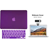 Protector Funda Case para Macbook + Protector Skin Cover de Teclado en Español + Webcam Cover AntiSpy Morado Solido Macbook Air 13'' Model: A1369 / A1466