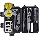 Eachway Professional 10 in 1 Emergency Survival Gear Kit Outdoor Survival Tool with Fire Starter Whistle Survival Knife Flashlight Tactical Pen etc for Outdoor Travel Hike Field Camp