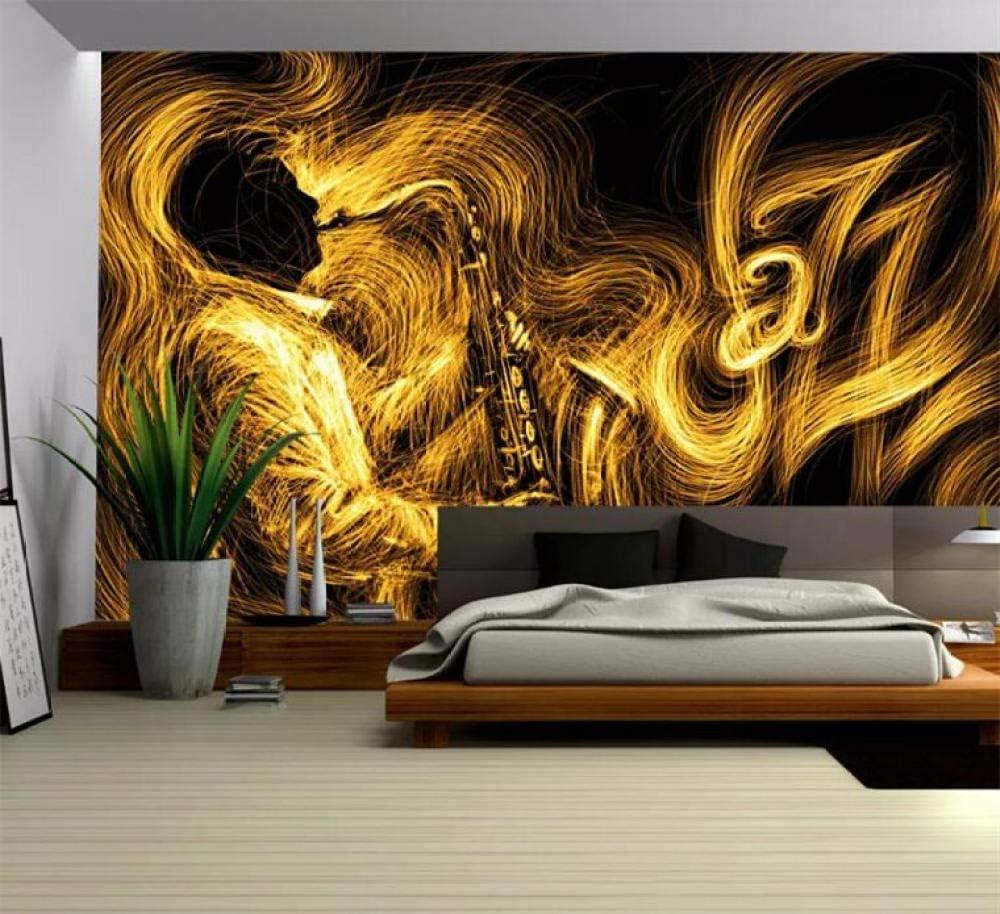 Amazon Kahsfa 3d壁紙 カスタムサイズ抽象ゴールデンサックスジャズ音楽背景壁の装飾壁画リビングルームの寝室の家の装飾壁紙 250cmx175cm 壁紙
