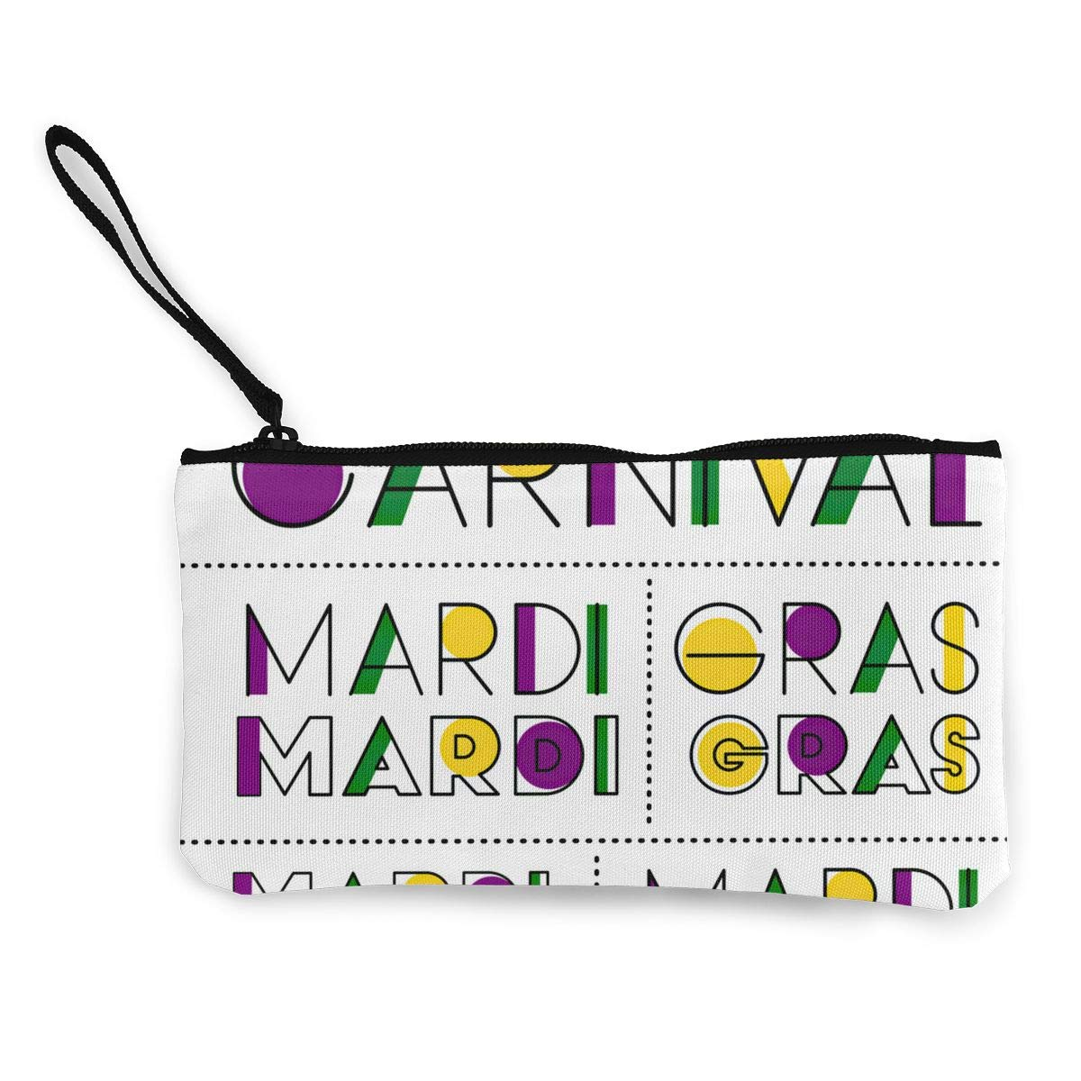 Maple Memories Mardi Gras Carnival Portable Canvas Coin Purse Change Purse Pouch Mini Wallet Gifts For Women Girls