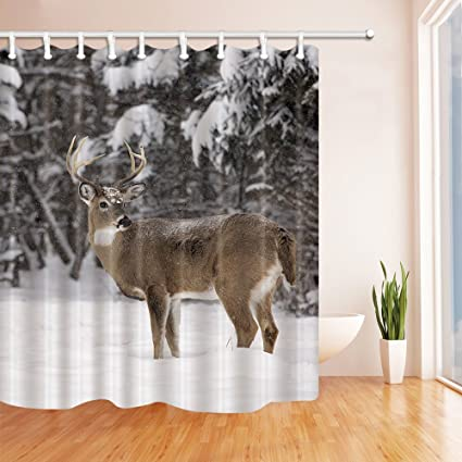 KOTOM Wild Animals Shower Curtains For Bathroom White Tailed Deer Buck Stands In Winter Landscape