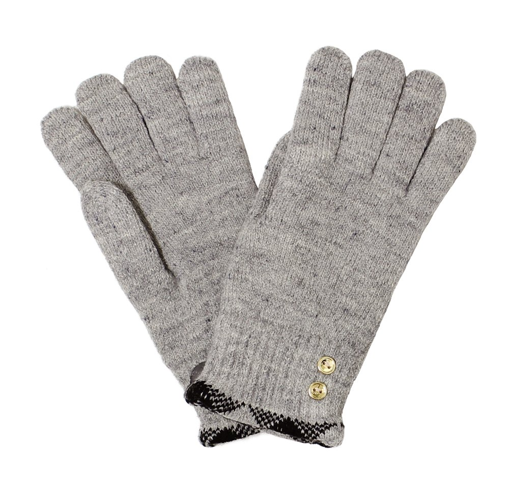LL- Womens Warm Winter Knit Fashion Gloves, Fleece Lined- Many Styles (Gold Buttons Beige)