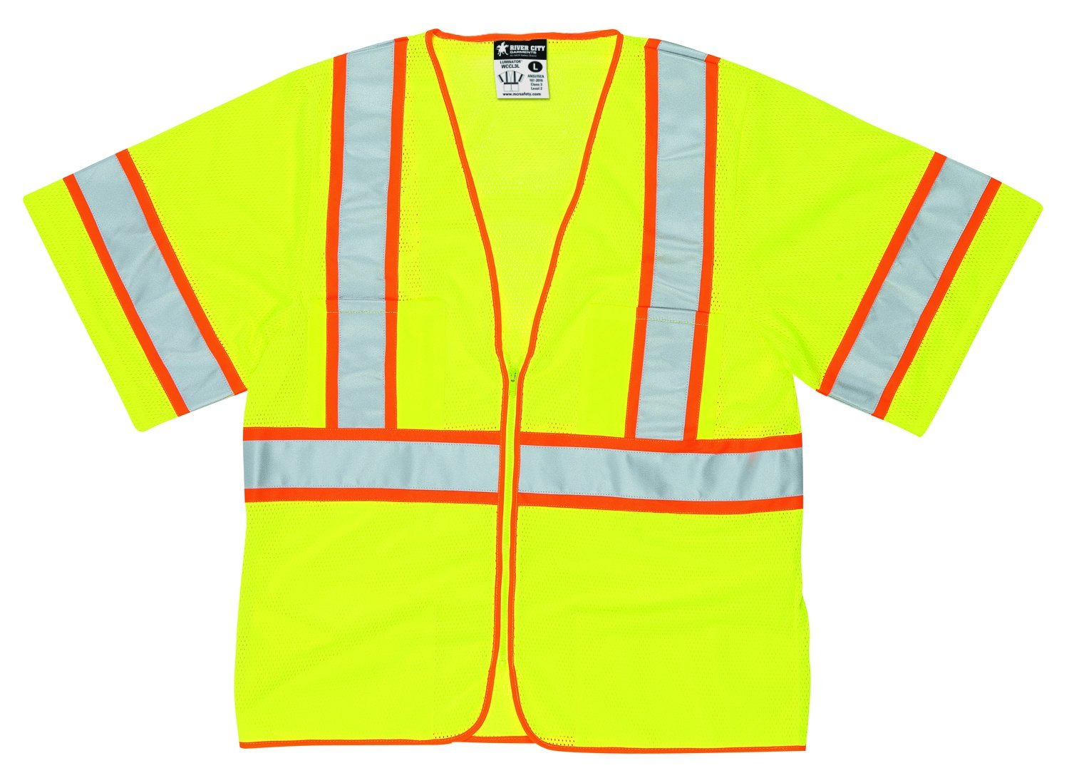 MCR Safety CL2MLM Class 2 Polyester Mesh Tear-Away Safety Vest with 3M Scotchlite 2-Inch Silver Stripe, Fluorescent Lime, Medium