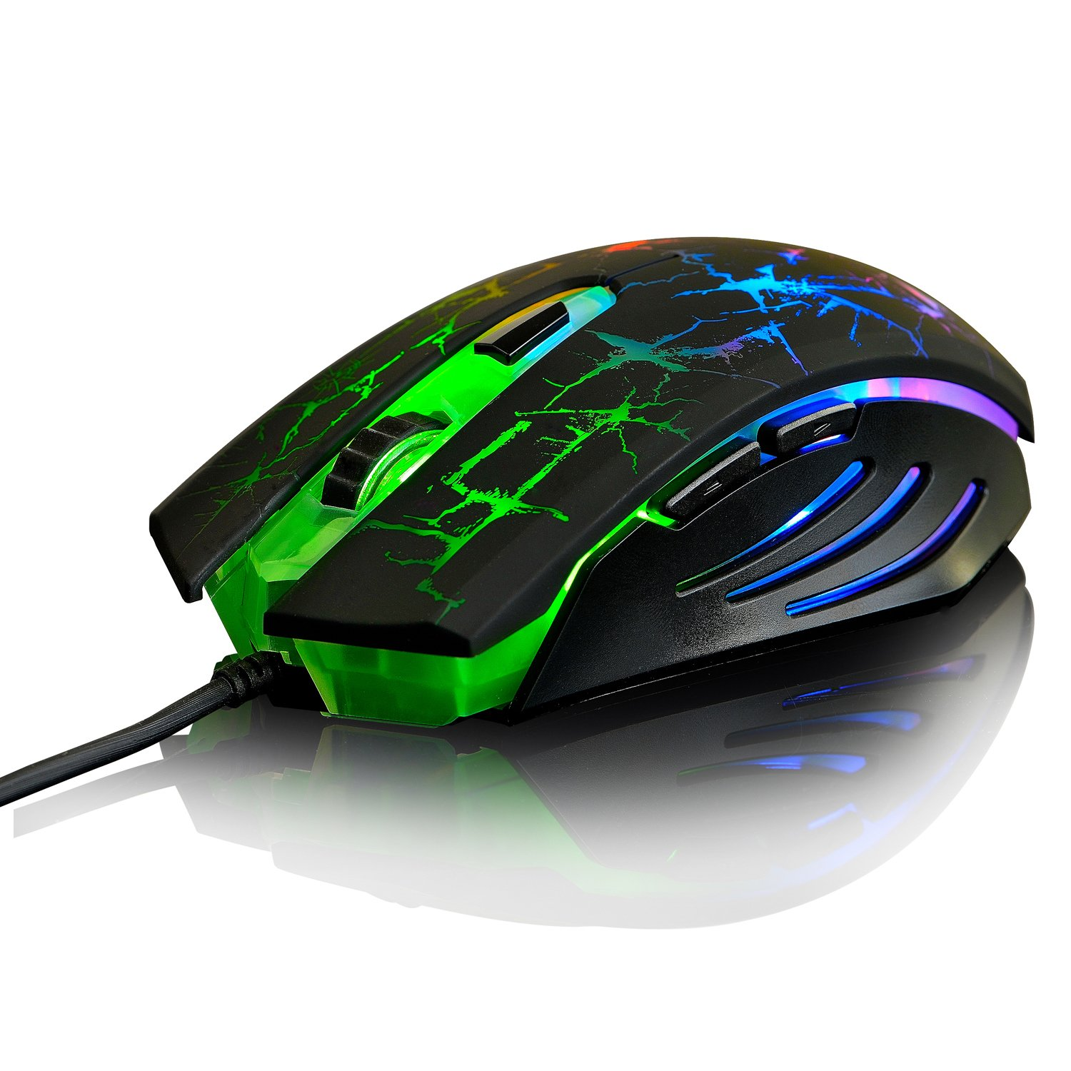 Ajazz Dark Knight Ergonomic Wired Mouse, 7 LED Rainbow Backlight 6 Buttons for Office Games and Daily Use