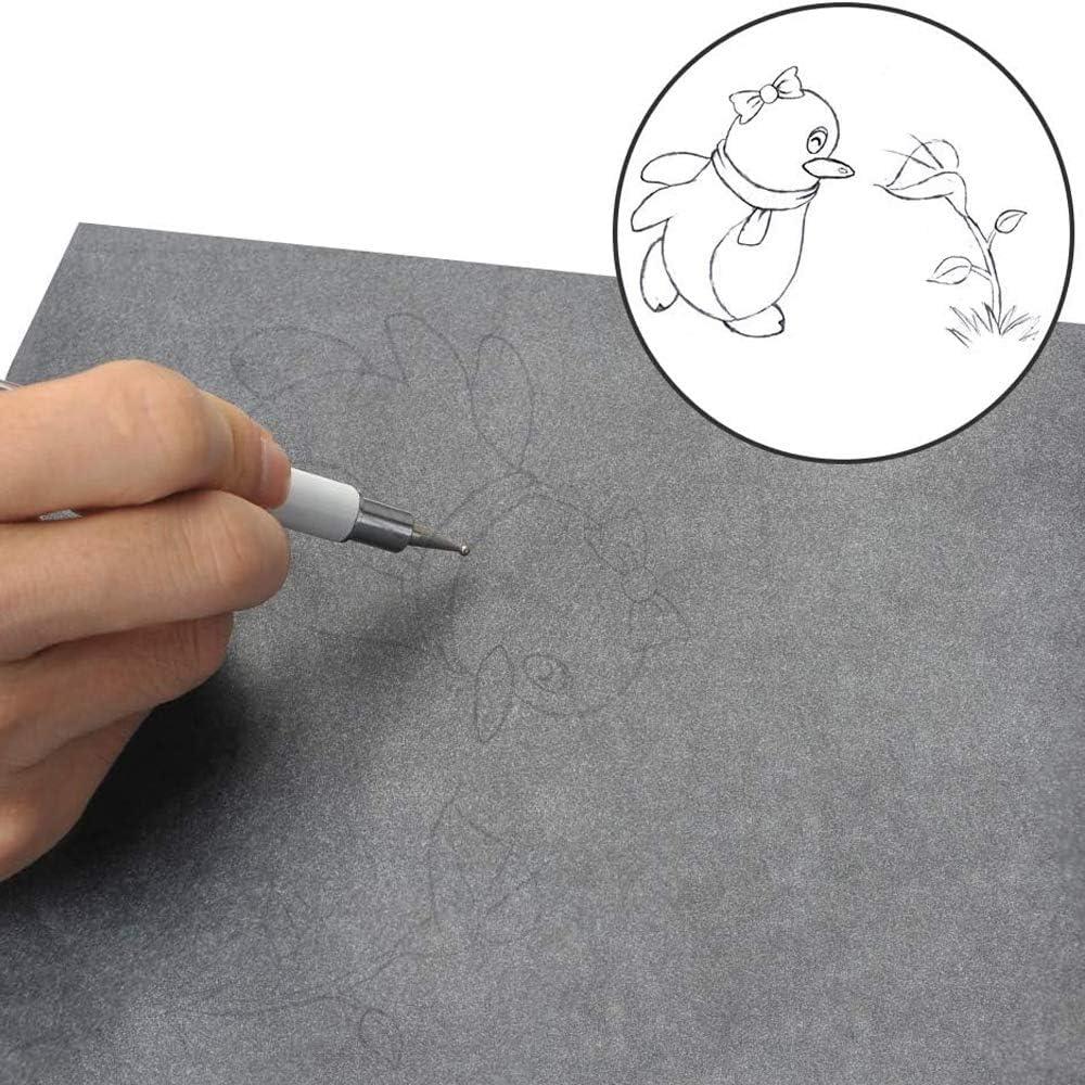 100 Fogli Carta di Trasferimento Carbonio A4 Carta Grafite da Ricalco Riutilizzabile con 5 Stilo per Goffratura per Sulla Superficie Della Maggior Parte Degli Oggetti Legno Carta Metallo