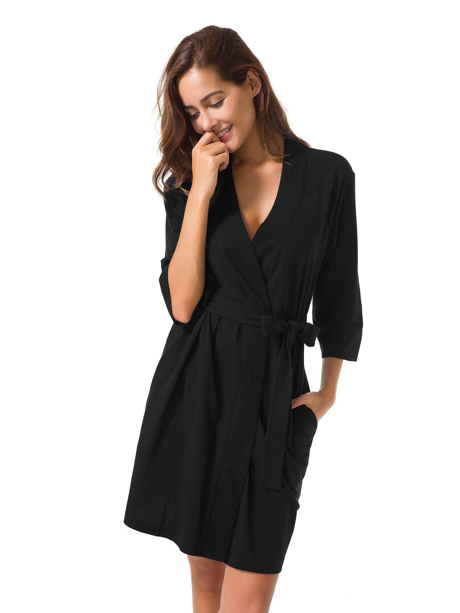 SIORO Cotton Robes Lightweight Kimono Robe Gowns Soft Knit Bathrobe Nightwear V-Neck Loungewear Sexy Sleepwear Short for Women, Black, S by SIORO (Image #1)