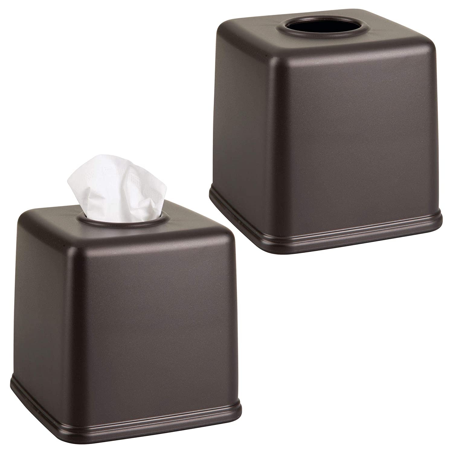 mDesign Square Facial Tissue Box Cover Holder for Bathroom Vanity Countertops, Bedroom Dressers, Night Stands, Desks and Tables - Pack of 2, Bronze MetroDecor