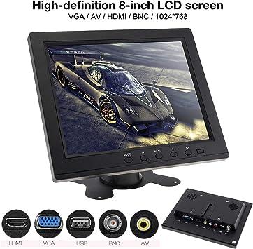 Monitor LED de 8 Pulgadas Monitor de Color TFT-LCD Mini TV Computadora Entrada de Video de 2 Canales con Altavoz VGA HDMI para automóvil: Amazon.es: Electrónica